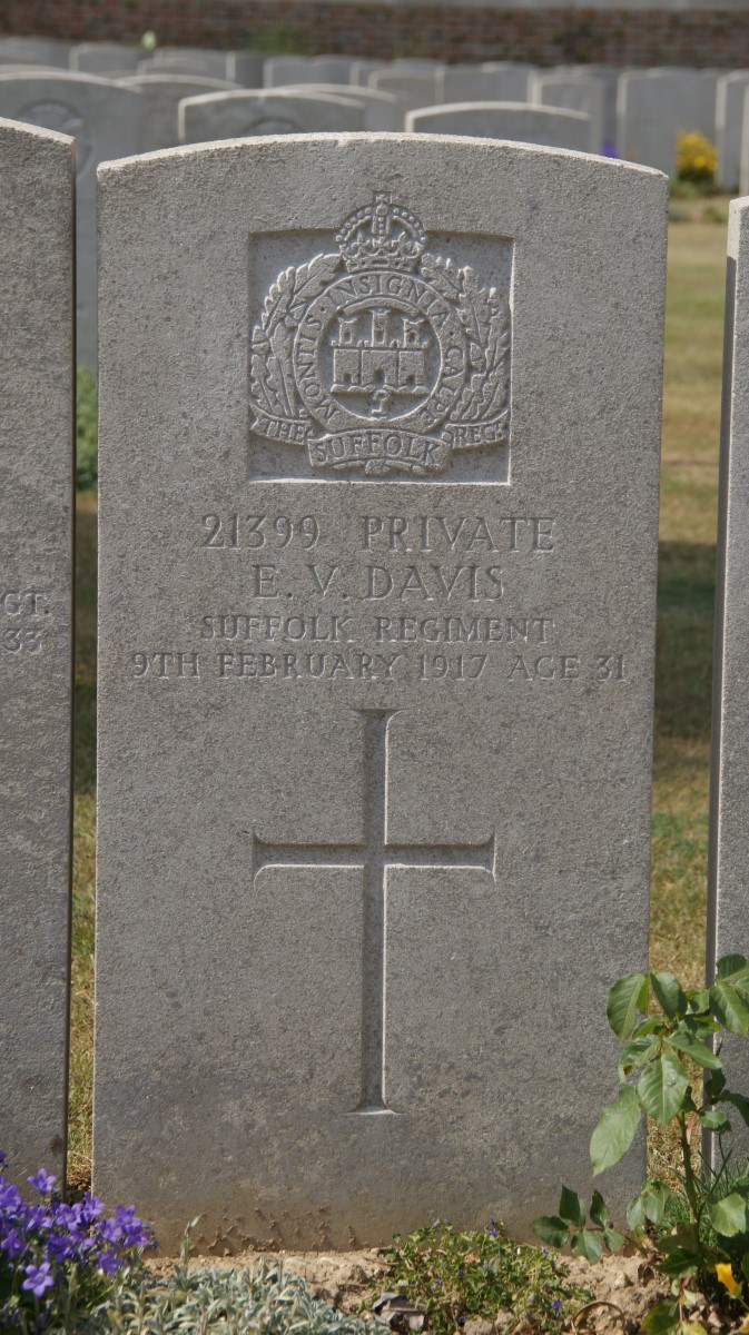 Ernest's grave in Bray Military Cemetery