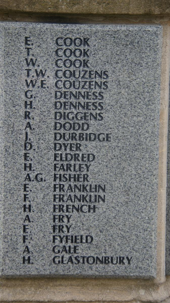 Name on Thatcham War Memorial