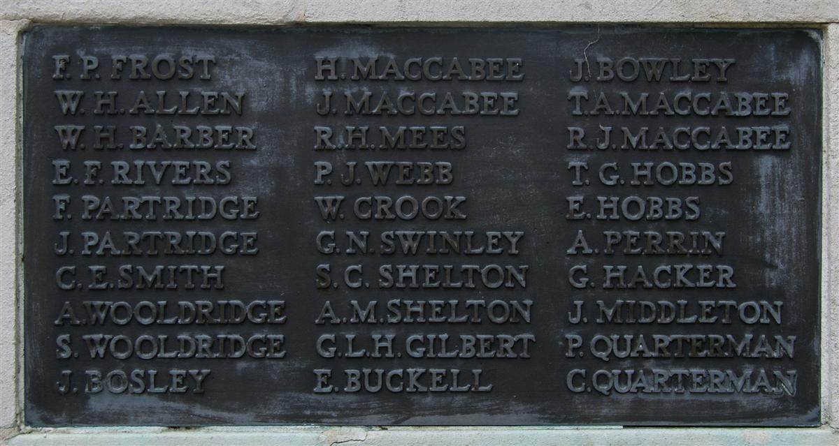 Harry Allen's name on Newbury War Memorial(upper left)