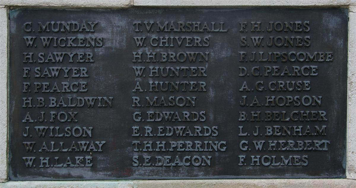 W Allaway's name on Newbury War Memorial