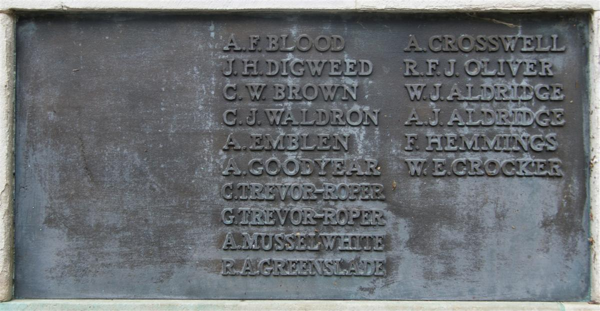 Charles' name on Newbury War Memorial