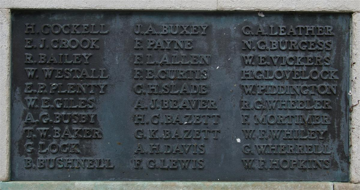 Thomas' name on Newbury War Memorial(lower left)