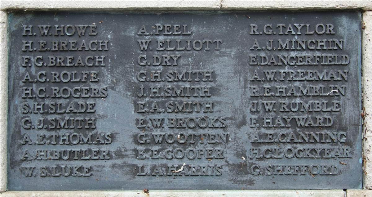 George's name on Newbury War Memorial