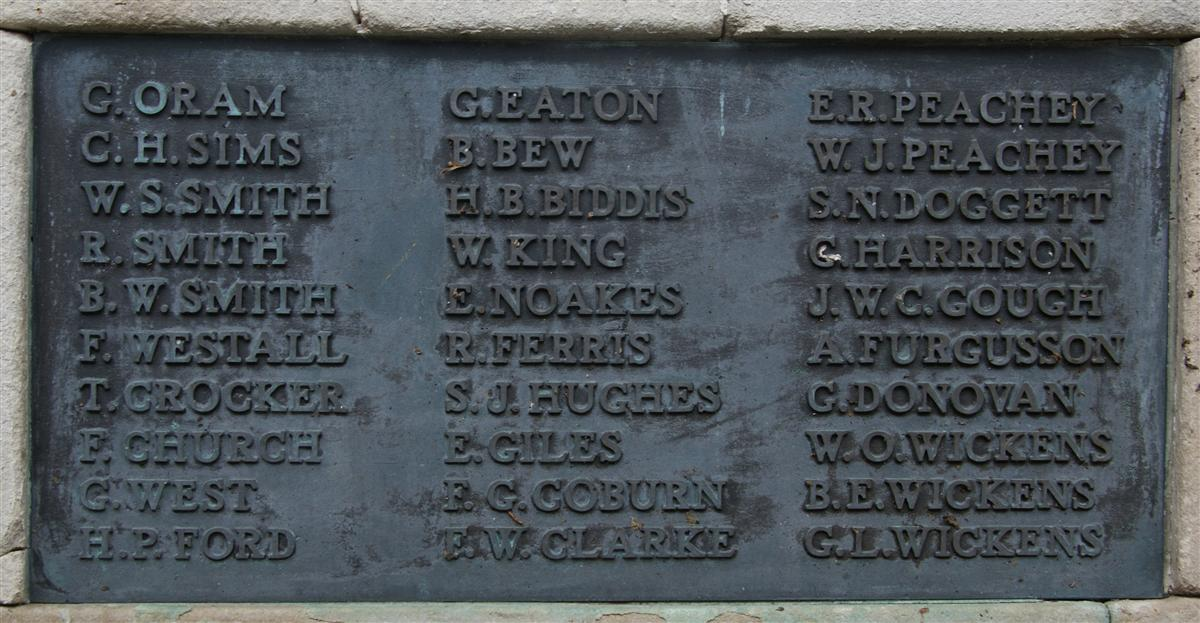 Benjamin's name on Newbury War Memorial