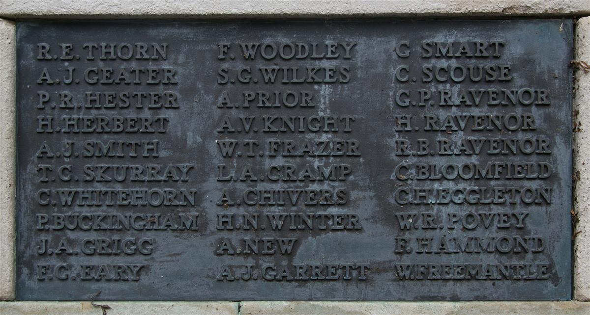 Thomas Skurray's name on Newbury War Memorial