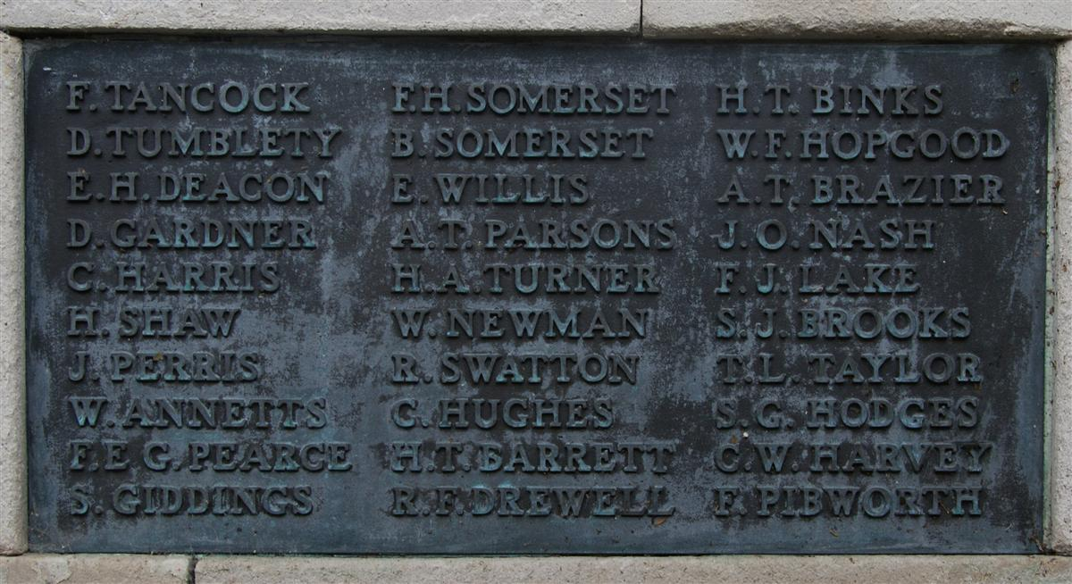 Frederick's name on Newbury War Memorial