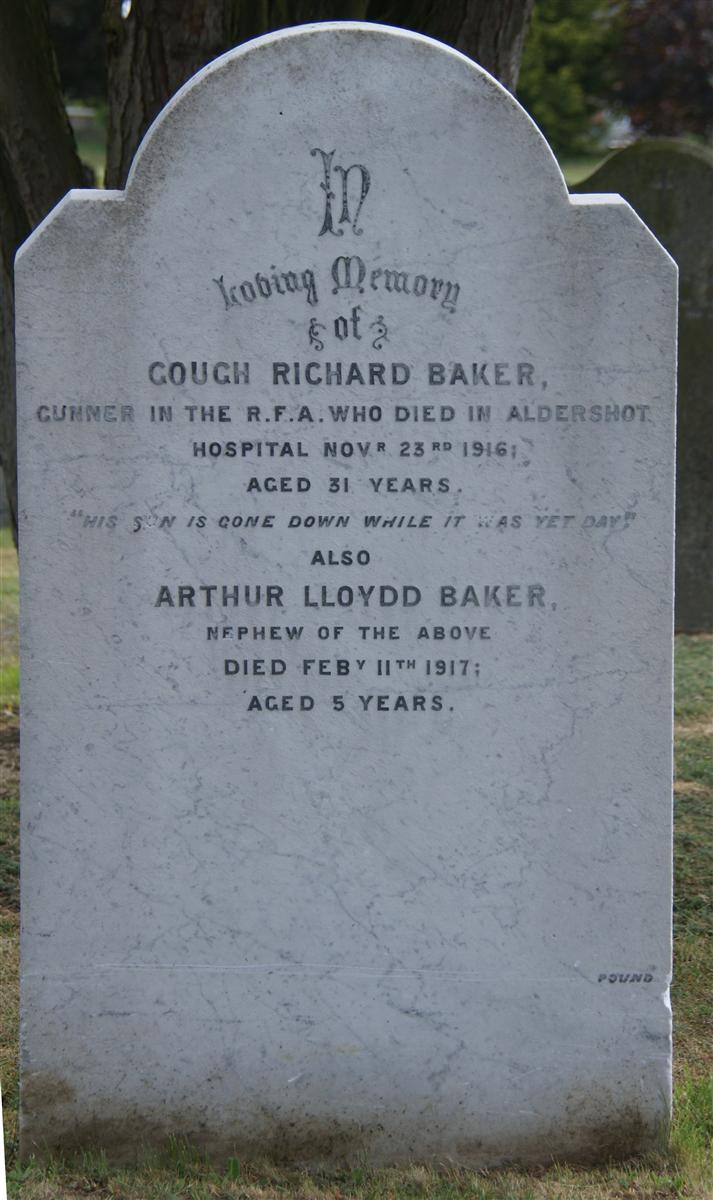 Gough Baker's grave in Shaw Cemetery