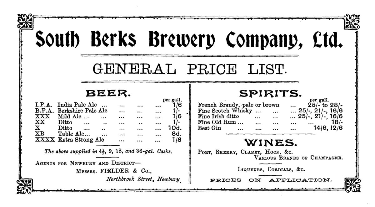 South Berkshire Brewery advertisement