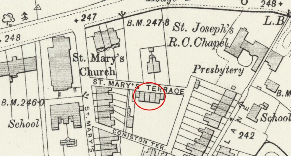 Map showing St Mary's Cottages