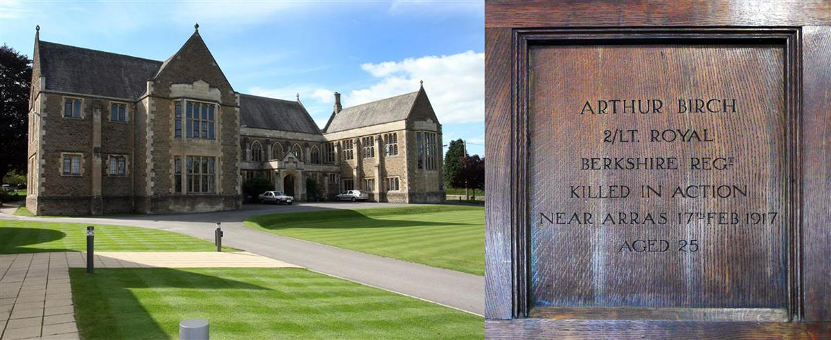 King's Bruton Memorial Hall and Arthur's name on the wall inside