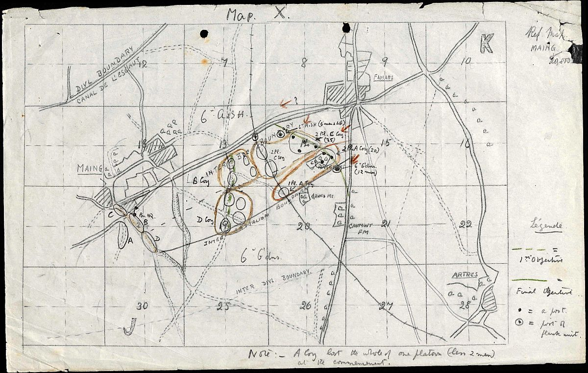 Map from war diary