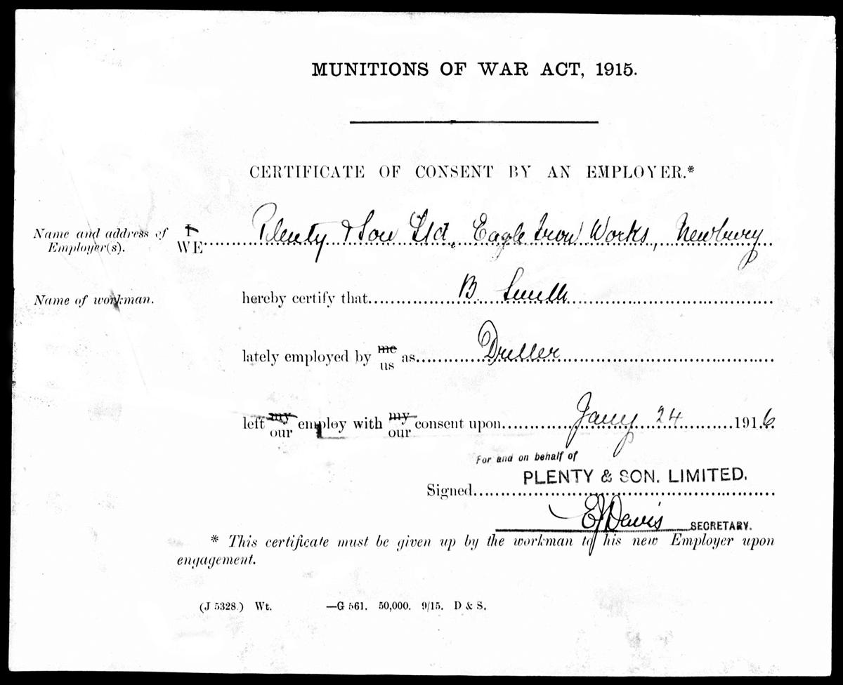 Certificate from Plenty's