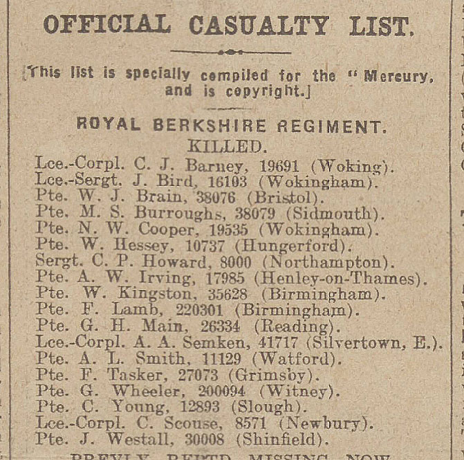 Casualty List