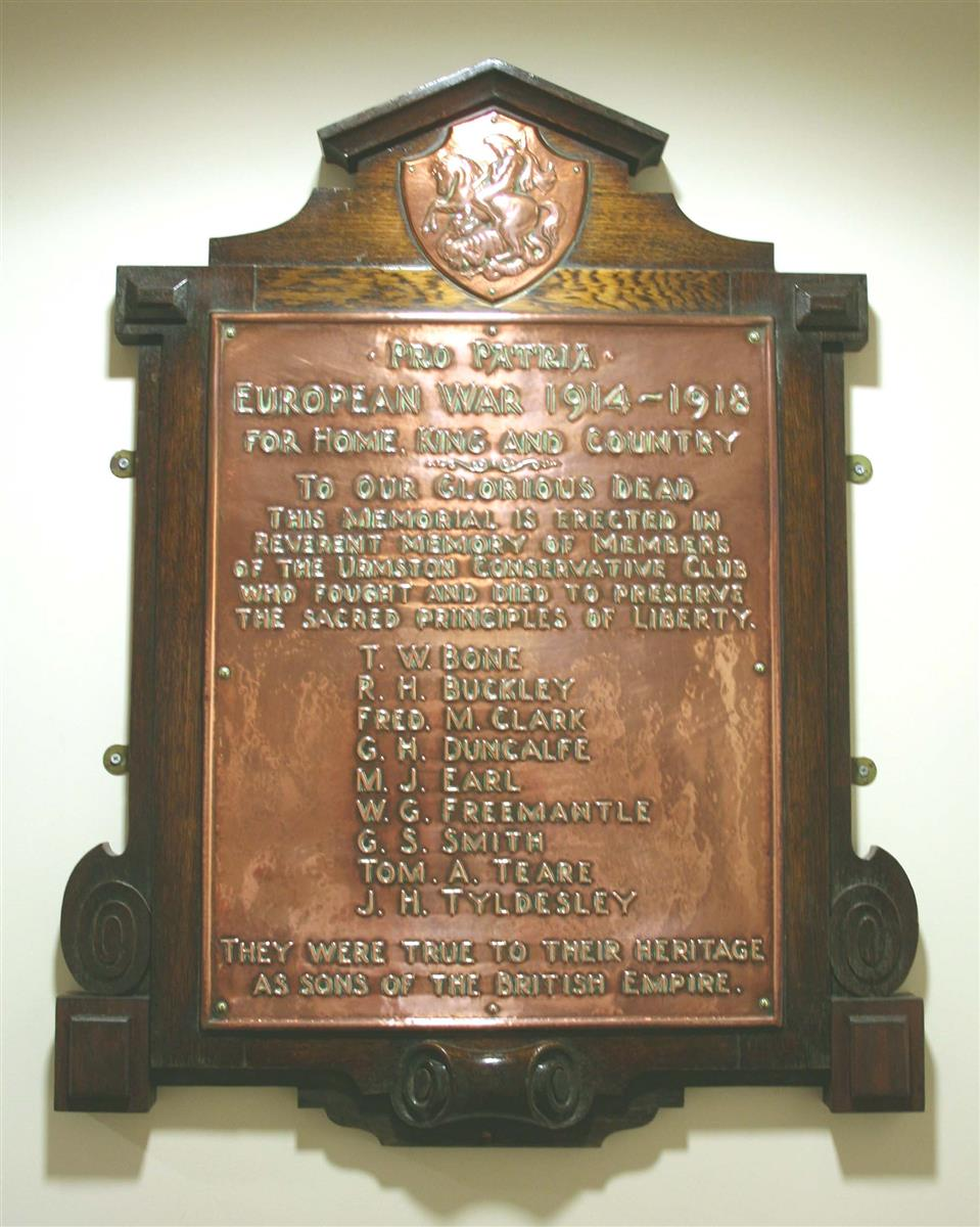 Urmston Conservative Club memorial