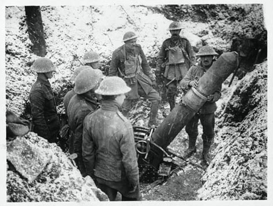 Loading a heavy trench mortar