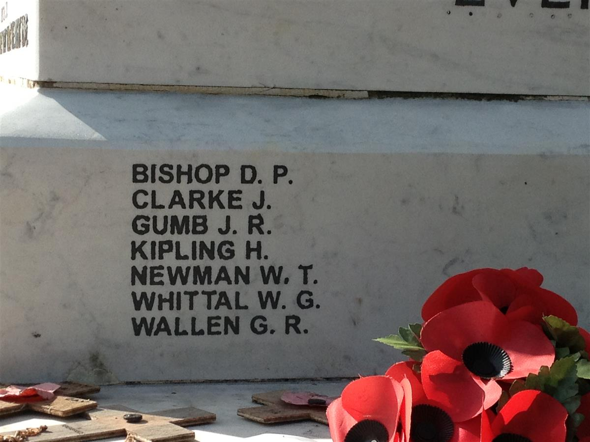Name on Staveley memorial
